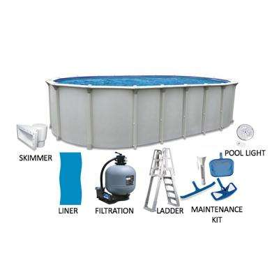 Huntington 15 ft. x 31 ft. Oval 54 in. D Buttress Free Above Ground Hard Sided Pool Package