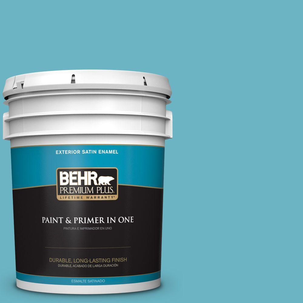BEHR Premium Plus 5-gal. #530D-5 Riverside Blue Satin Enamel Exterior Paint