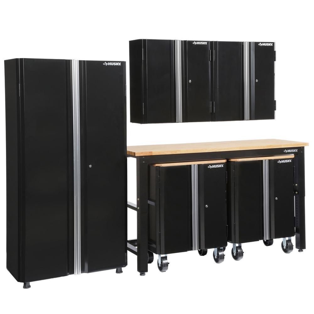 98 in. H x 108 in. W x 24 in. D Steel Garage Cabinet Set in Black (6-Piece)