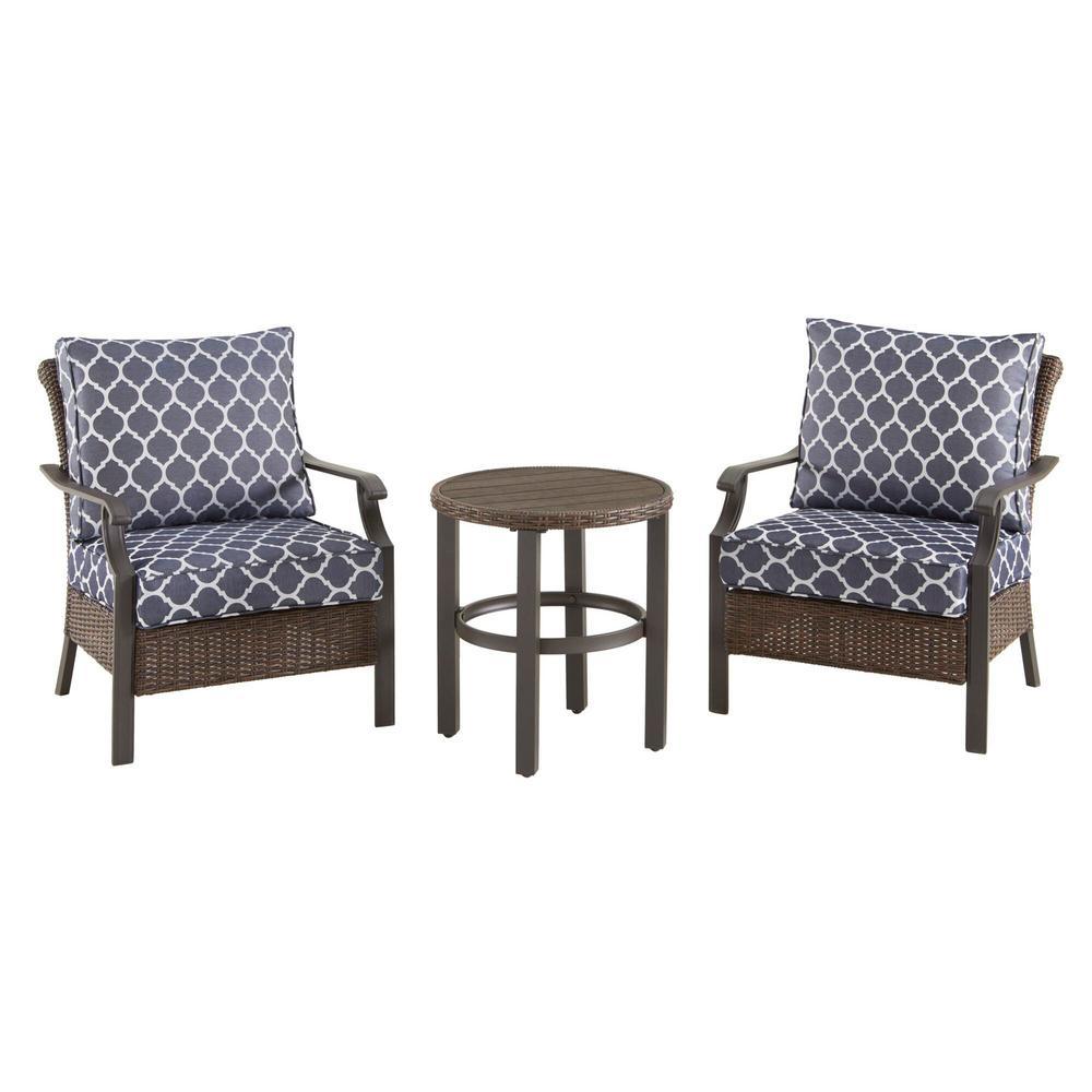 Harper Creek  Brown 3-Piece Steel Outdoor Patio Chair Set with CushionGuard Midnight Trellis Navy Blue Cushions