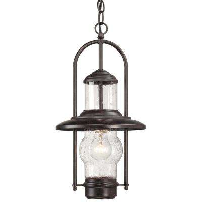 Settlers Way 1-Light Textured French Bronze Outdoor Chain Hung