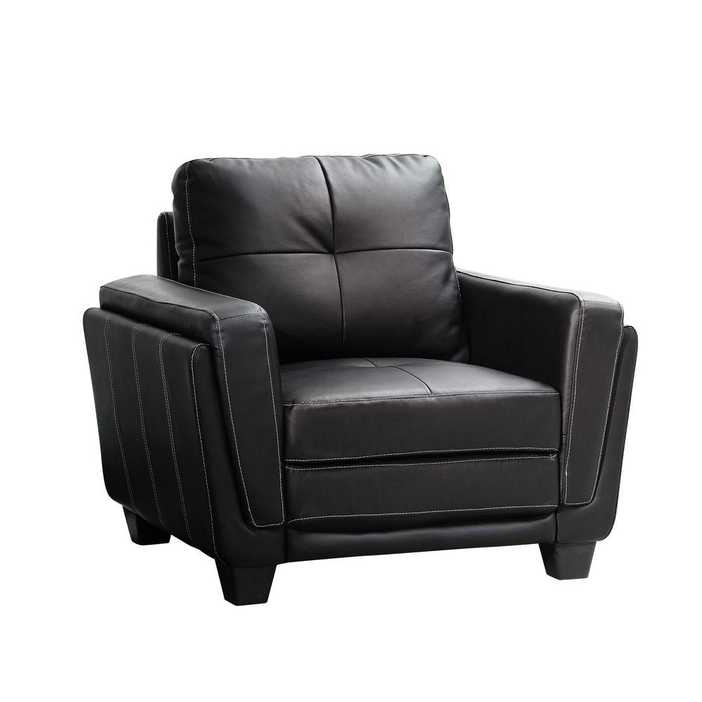 HomeSullivan Black Vinyl Arm Chair