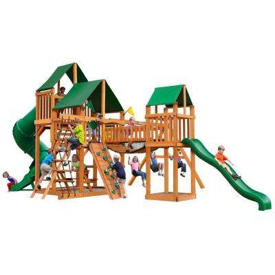 Treasure Trove with Amber Posts and Sunbrella Canvas Forest Green Canopy Cedar Playset