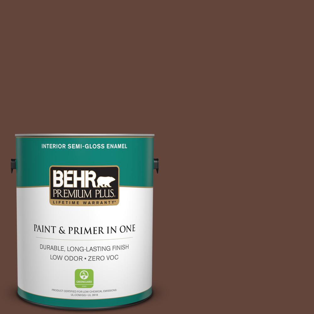 BEHR Premium Plus 1-gal. #770B-7 Chocolate Sparkle Zero VOC Semi-Gloss Enamel Interior Paint