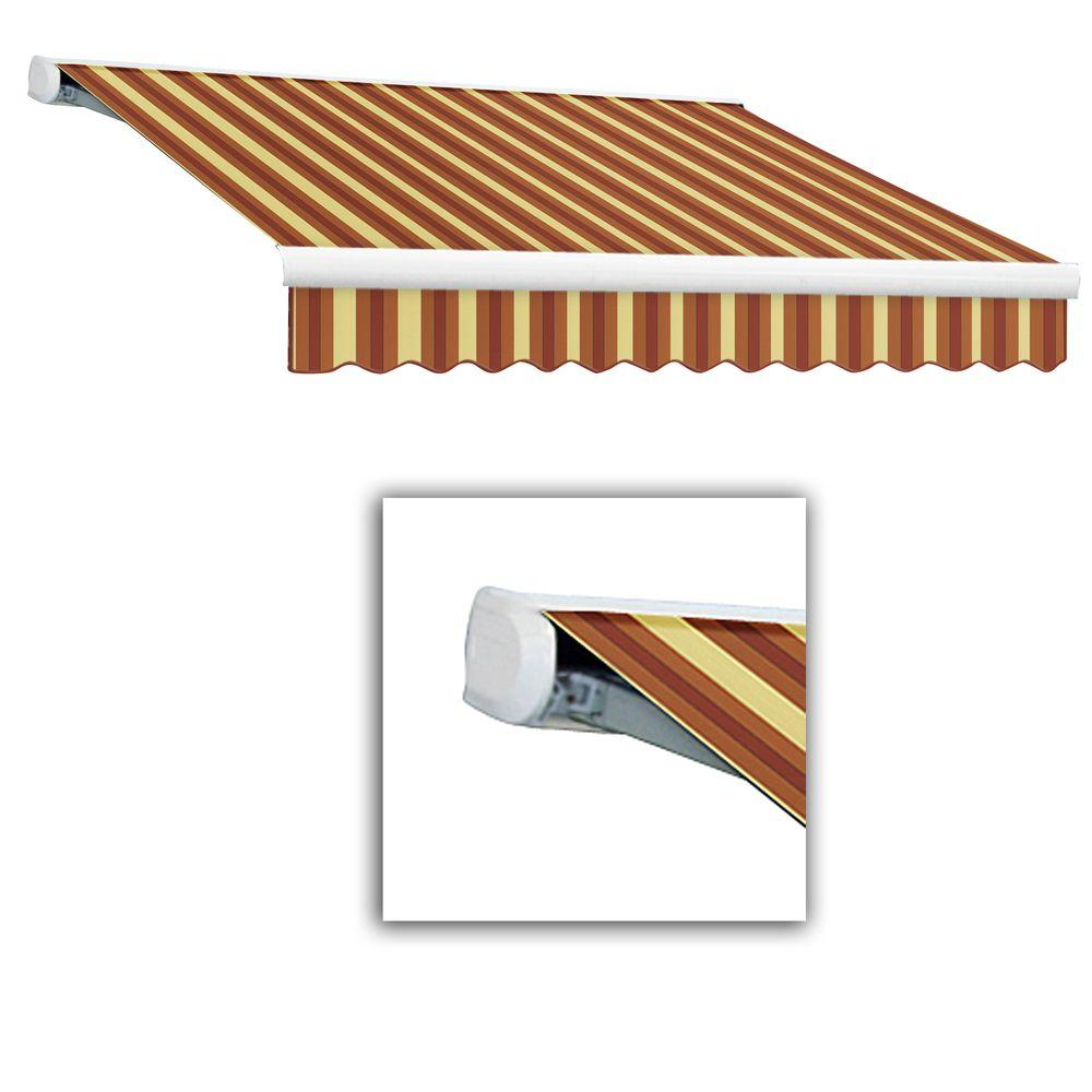 AWNTECH 24 ft. Key West Full-Cassette Right Motor Retractable Awning with Remote (120 in. Projection) in Burgundy/Tan Wide