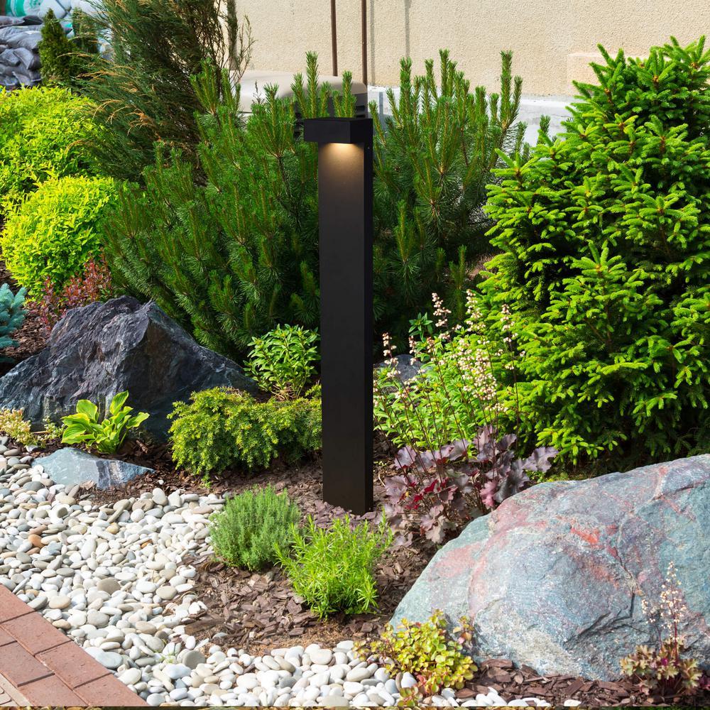 5-Watt Black Outdoor Integrated LED Bollard Landscape Path Light