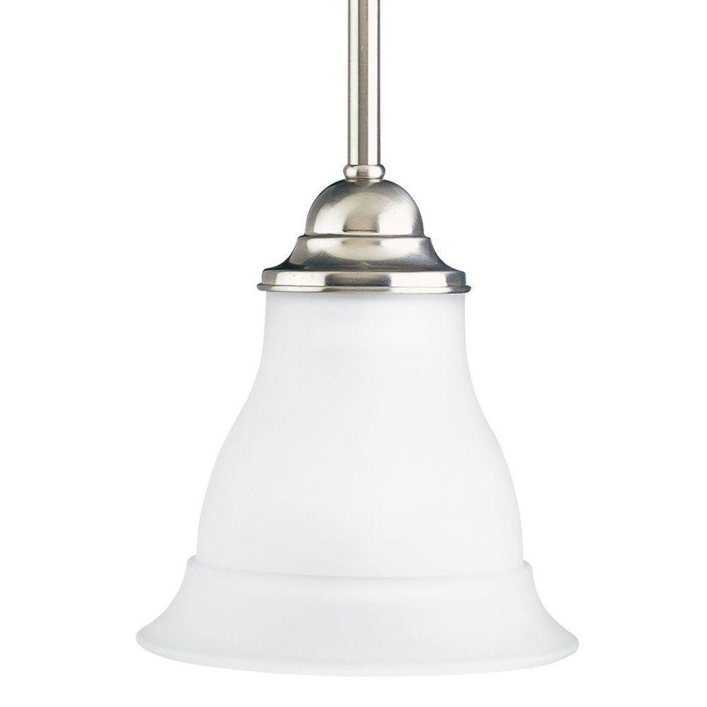 Progress Lighting Trinity 1 Light Brushed Nickel Mini Pendant With Etched Gl