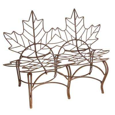 58 in. Rust Finish with Brushed Metallic Leaf Metal Outdoor Garden Bench