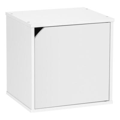 BAKU  Modular White Wood Cube Box with Door