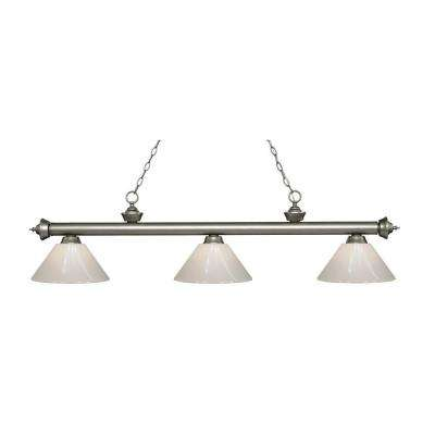 Harper 3-Light Antique Silver Island Light with White Shades