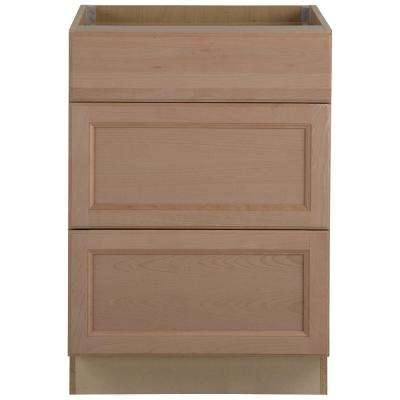Easthaven Shaker Assembled 24x34.5x24 in. Frameless Base Cabinet with 3-Drawers in Unfinished Beech