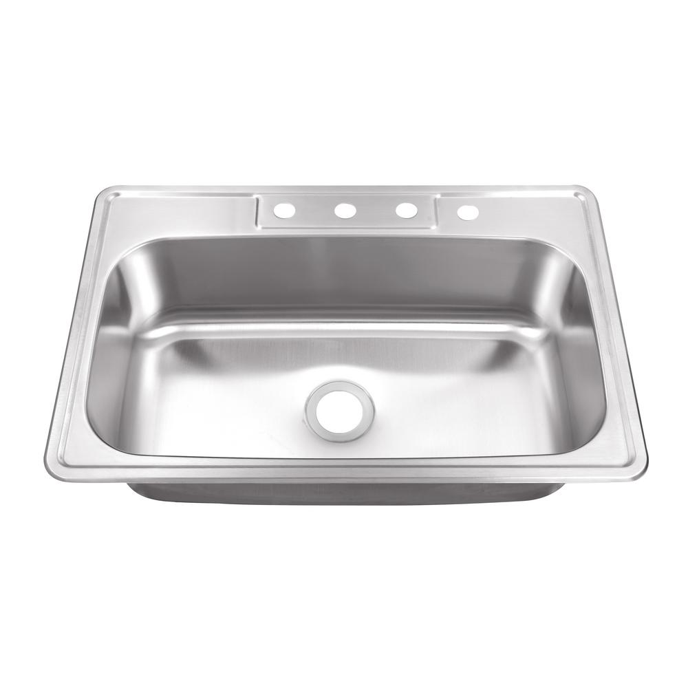 IPT Sink Company Drop-In Stainless Steel 33 in. 4-Hole Single Bowl Kitchen Sink, Brushed Satin was $160.0 now $119.0 (26.0% off)