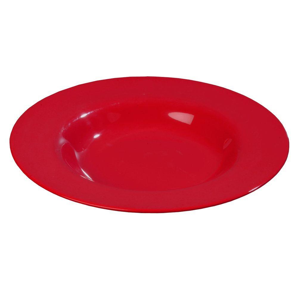 16 oz., 7.5 in. Diameter Melamine Rimmed Bowl in Red (Case