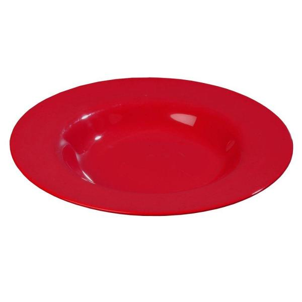 Carlisle 16 oz., 7.5 in. Diameter Melamine Rimmed Bowl in Red