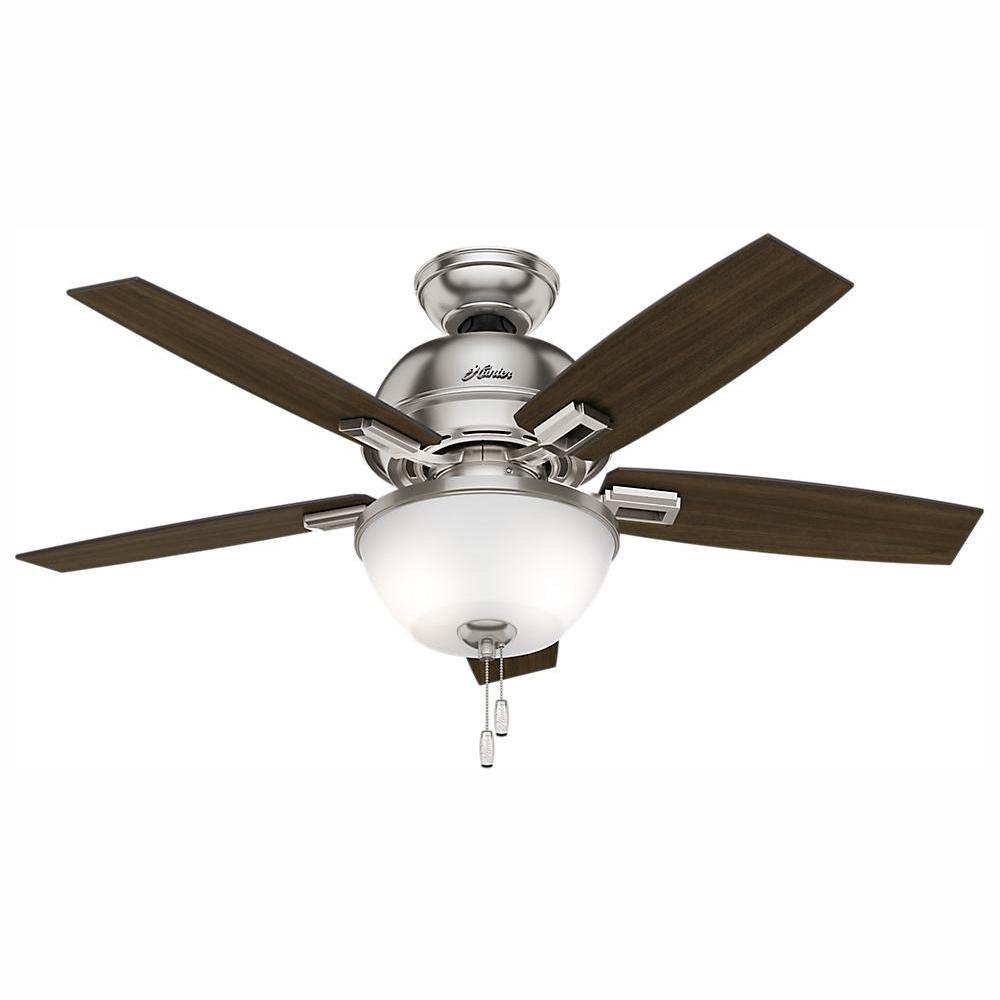 Hunter Donegan 44 in. LED Indoor Brushed Nickel Ceiling Fan with Bowl Light Kit