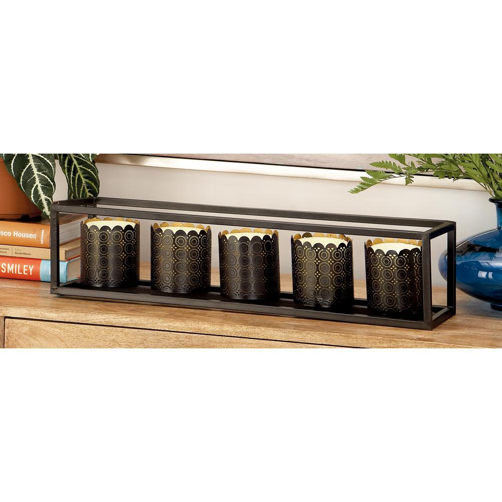 5 in. Black Iron 5-piece Votive Candle Holder