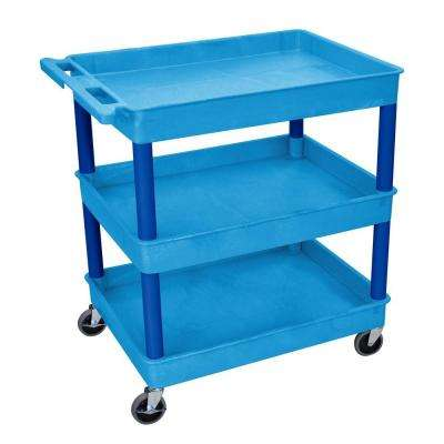24 in. x 32 in. 3-Tub Shelf Utility Cart, Blue
