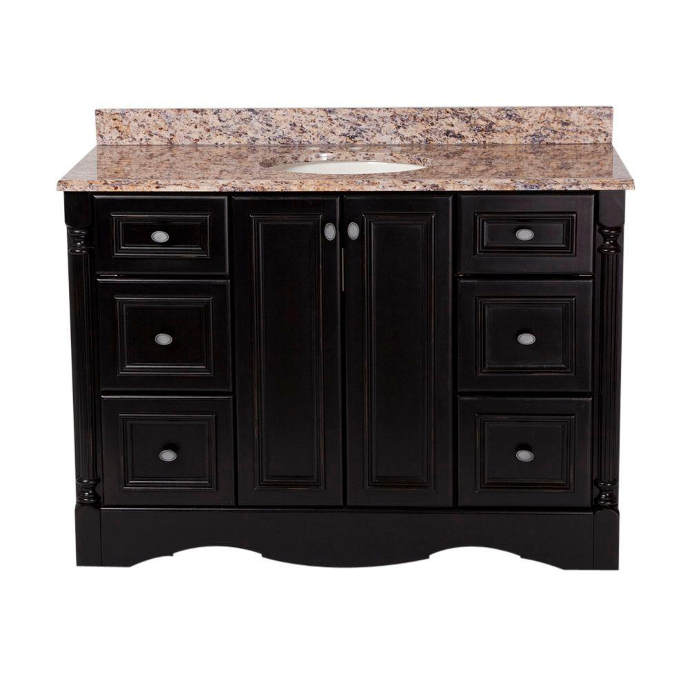St. Paul Valencia 48 in. Vanity in Antique Black with Stone Effects Vanity Top in Santa Cecilia