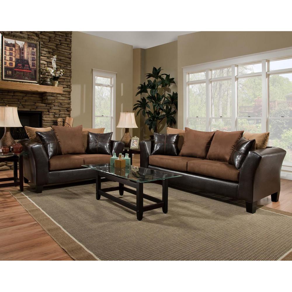 Riverstone 2-Piece Sierra Chocolate Microfiber Living Room Set