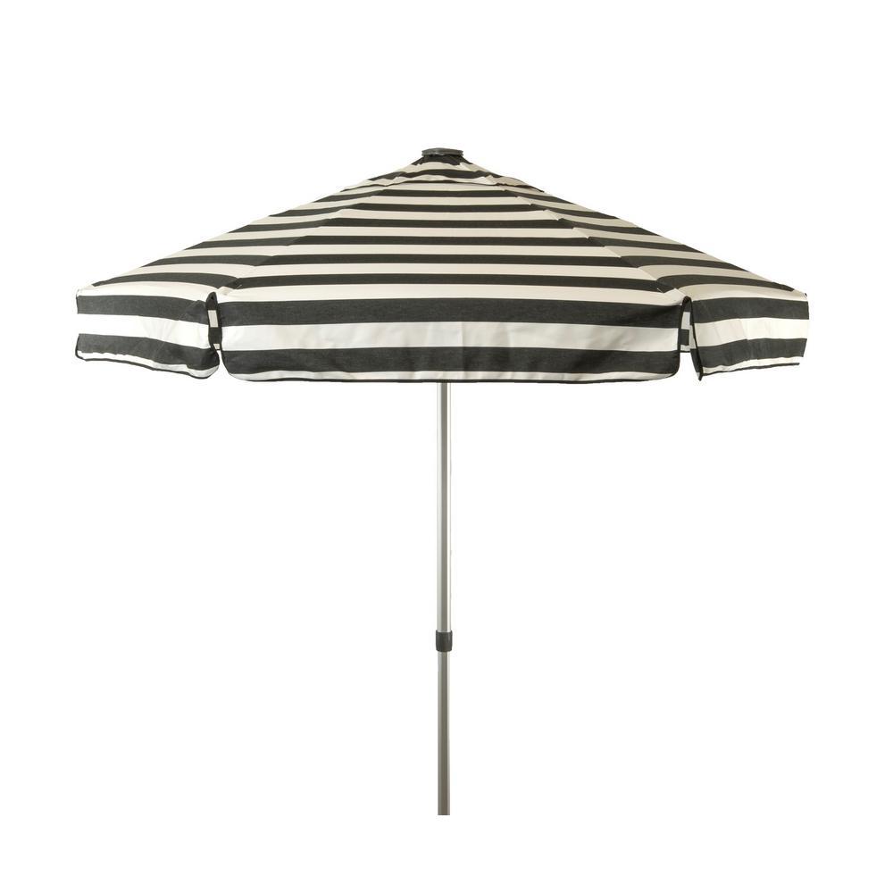 6.5 ft. Aluminum Manual Tilt Drape Patio Umbrella in Black and White Acrylic Stripes