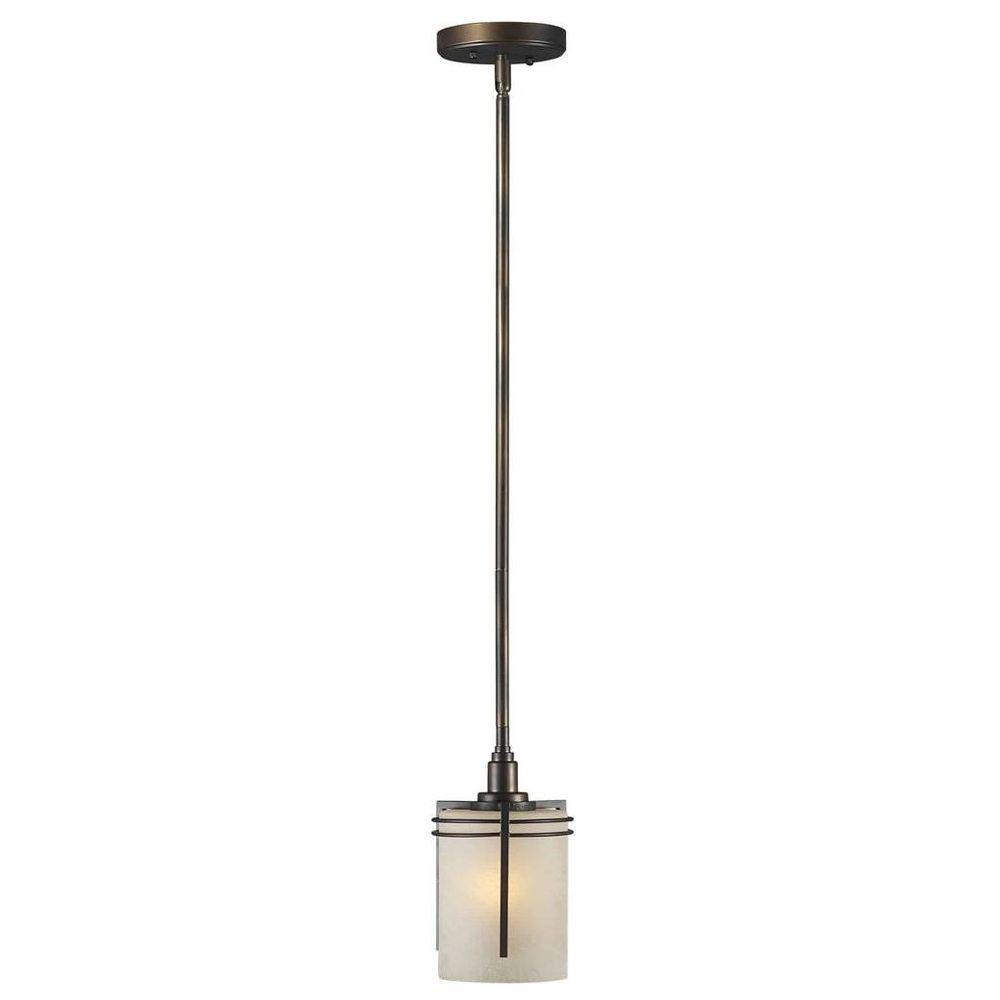 Talista 1-Light Antique Bronze Mini Pendant with Umber Linen Glass