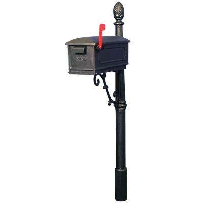 Old Towne Vintage Cast Aluminum Mailbox and Post Combo, Black