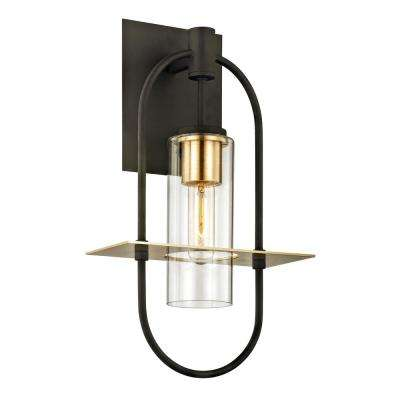 Smyth 1-Light Dark Bronze 17.5 in. H Outdoor Wall Mount Sconce with Clear Glass