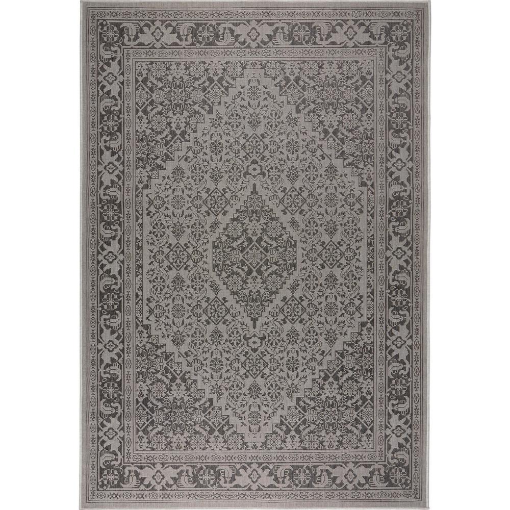Patio Country Gray/Black 5 ft. 2 in. x 7 ft. 2 in. Indoor/Outdoor Area Rug