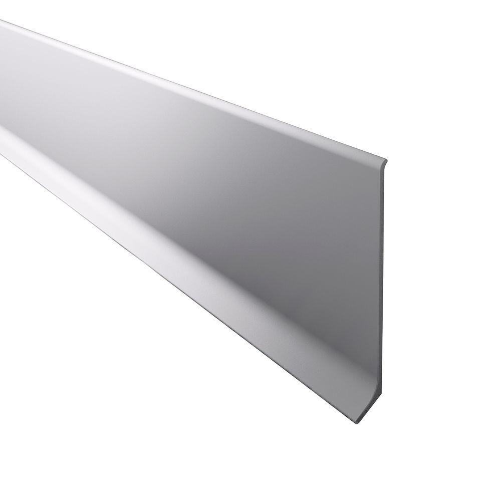 Novorodapie L Matt Silver 3-1/8 in. x 98-1/2 in. Aluminum Baseboard