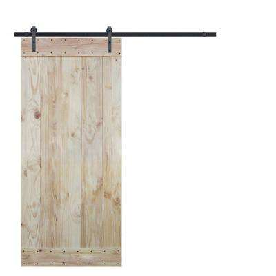 36 in. x 84 in. Wood Plank Natural Knotty Pine Slab Interior Barn Door with 6 ft. Sliding Door Hardware Kit