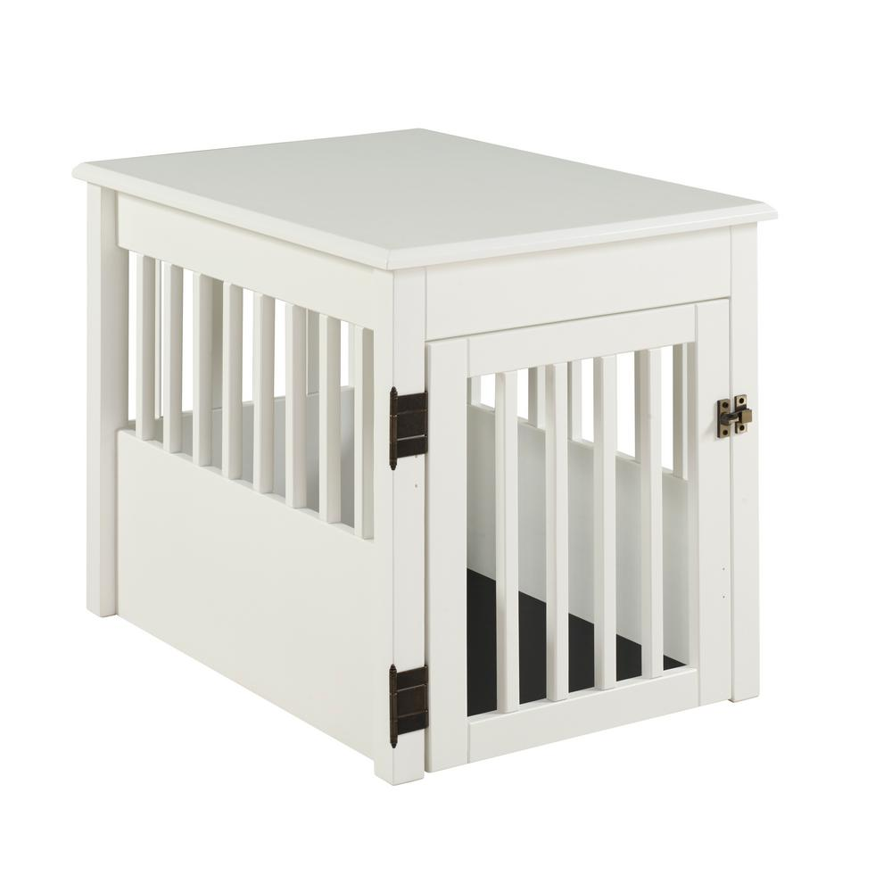 Camaflexi Ruffluv White End Table Pet Crate Medium
