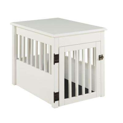 Ruffluv White End Table Pet Crate - Medium
