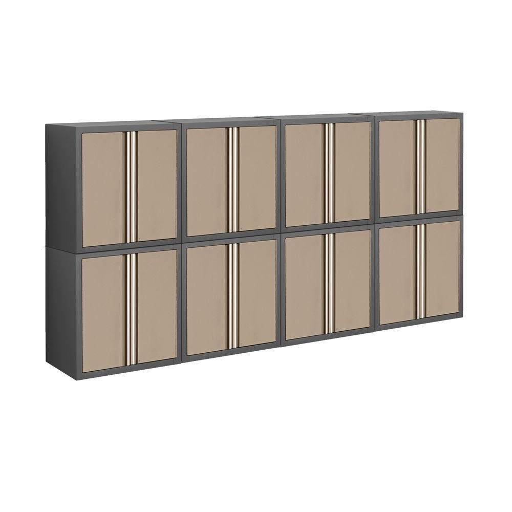 NewAge Products Pro Series 56 in. H x 112 in. W x 14 in. D Welded Steel Garage Cabinet Set in Taupe (8-Piece)