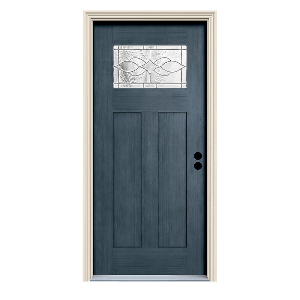 36 in. x 80 in. Denim Left-Hand 1-Lite Craftsman Carillon Stained Fiberglass Prehung Front Door with Brickmould