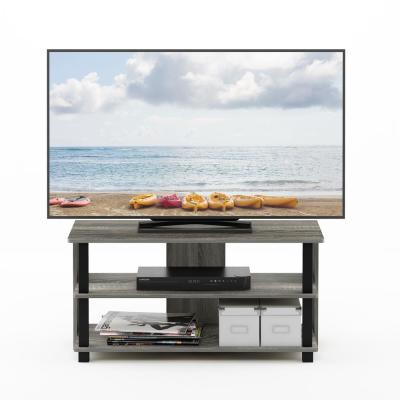 ea9eafb1acf South Shore Exhibit 50-Disk Capacity Corner TV Stand in Gray Oak ...