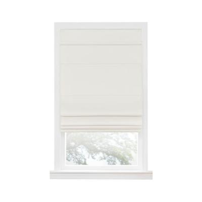 Florence Ivory Cordless Blackout Pleated Polyester Roman Shades 27 in. W x 64 in. L