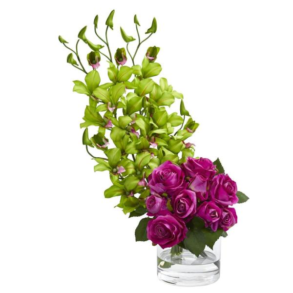e8e1340635ce Nearly Natural Indoor Rose and Dendrobium Orchid Artificial Arrangement