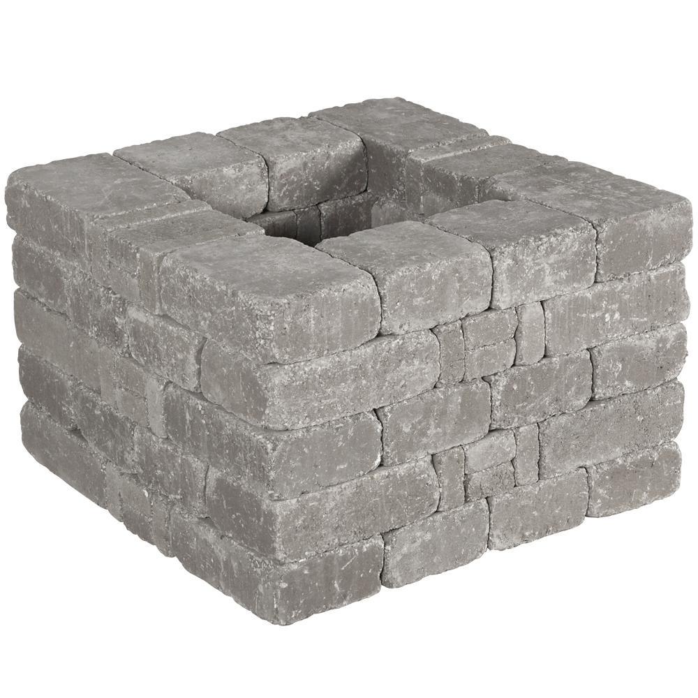 RumbleStone 28 in x 17.5 in. x 28 in. Square Concrete Planter Kit in Greystone