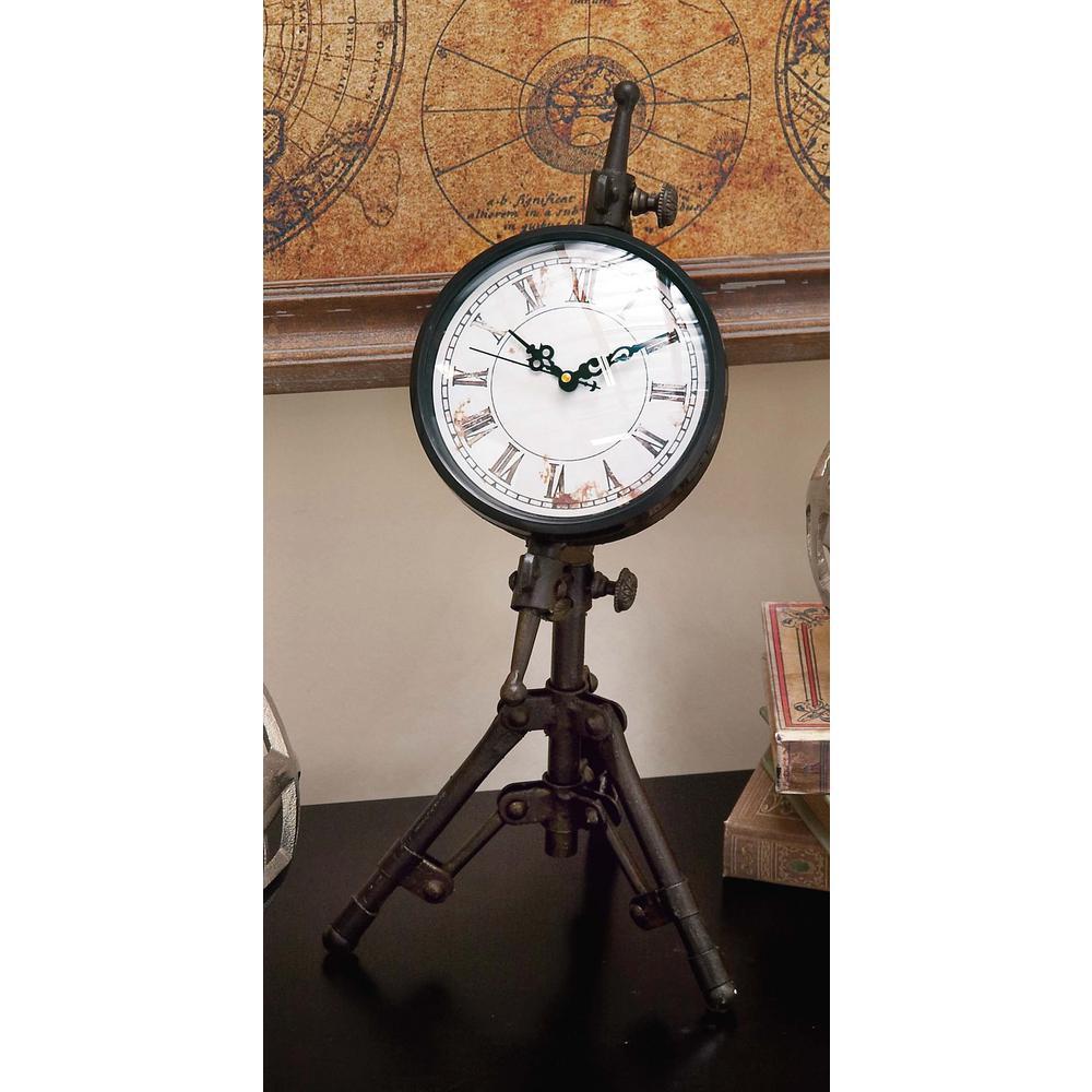 Classical 14 in. x 7 in. Rusted Black Iron Tripod Table Clock
