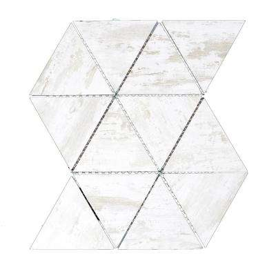 Nature Triangle Birchwood White 12 in. x 11.625 in. x 6.35 mm Glass Mosaic Tile