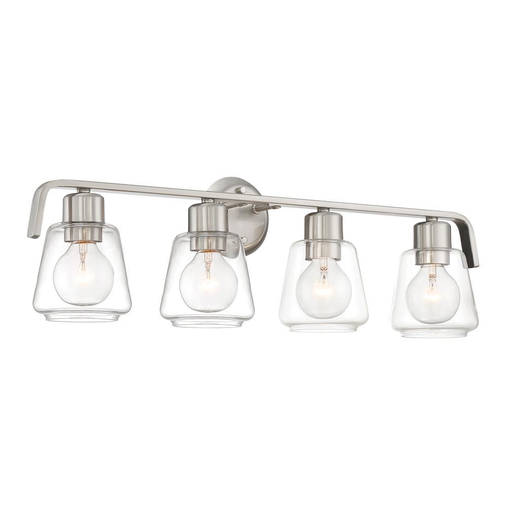 Riley 4-Light Satin Platinum Bath Bar Vanity Light
