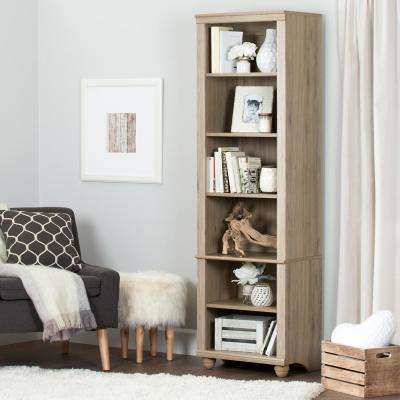 Hopedale Rustic Oak 6-Shelf Bookcase