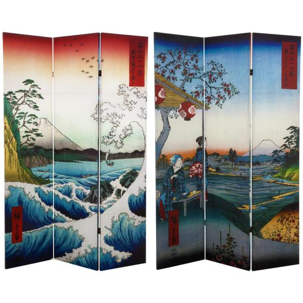 Oriental Furniture 6 ft. Printed 3-Panel Room Divider CAN-HIRO-1