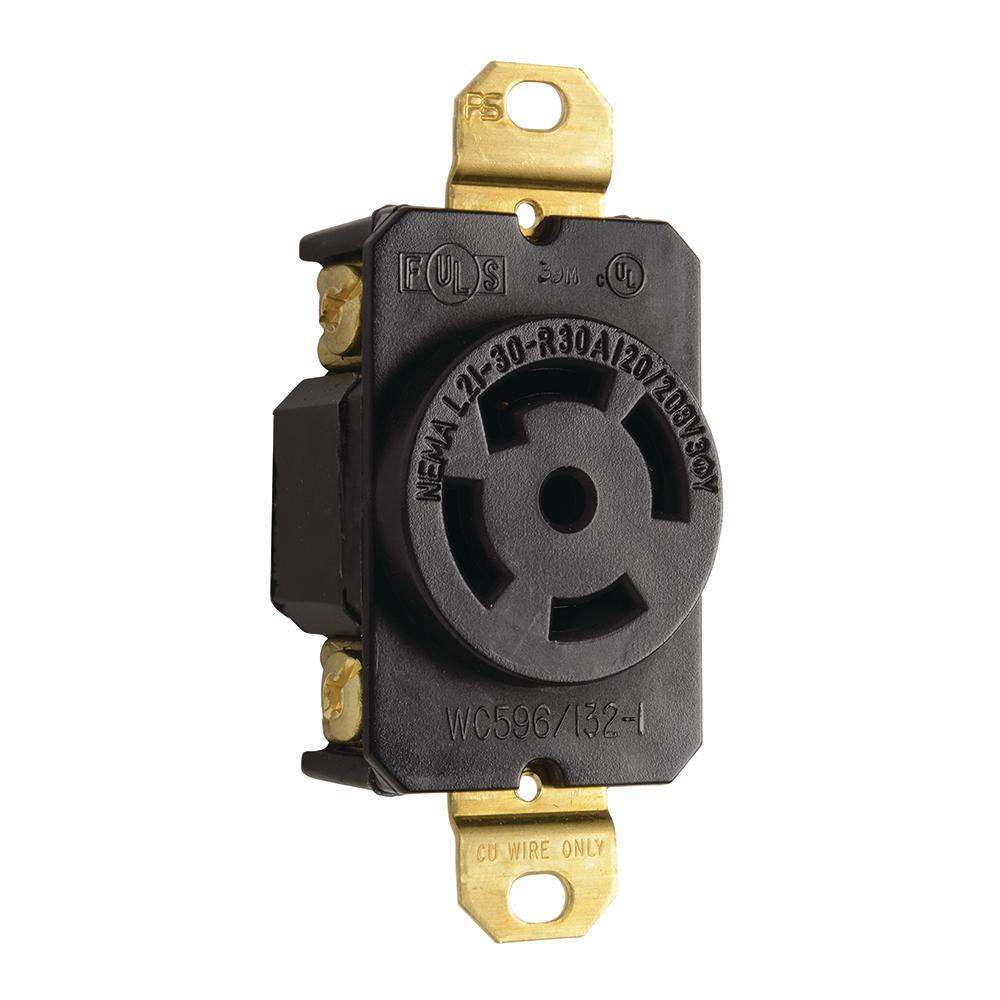 Turnlok 30 Amp 120-Volt/208-Volt Locking Receptacle, Black-L2130R ...