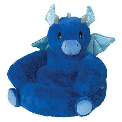 Blue Children's Plush Dragon Character Chair