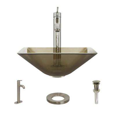 Glass Vessel Sink in Cashmere with R9-7001 Faucet and Pop-Up Drain in Brushed Nickel