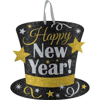 New Year's 11.5 in. Black, Silver and Gold Medium Glitter Sign (6-pack)