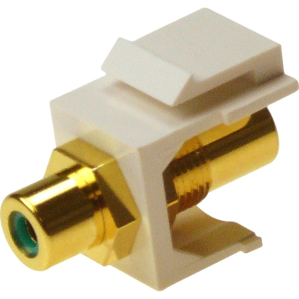 RCA Green F/F Feed-Through Snap-In Keystone Jack Insert - White