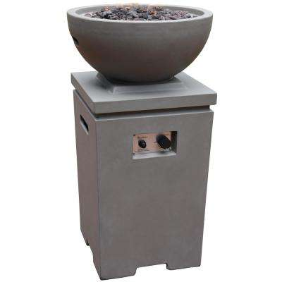 Exeter 21 in. x 38 in. Square Concrete Liquid Propane Fire Pit in Light Gray with Canvas Cover and Lava Rock