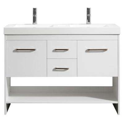 Siena 48 in  W x 21 D Vanity White with Acrylic Inch Vanities Double Sink Bathroom Bath The